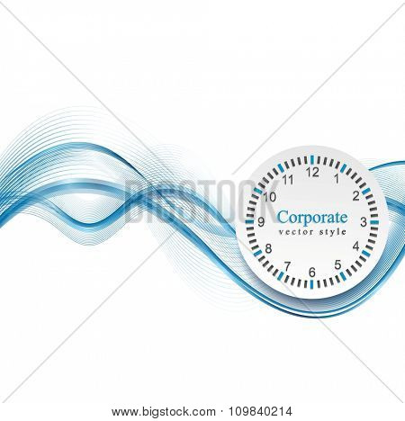 Abstract blue waves and clock. Vector business background