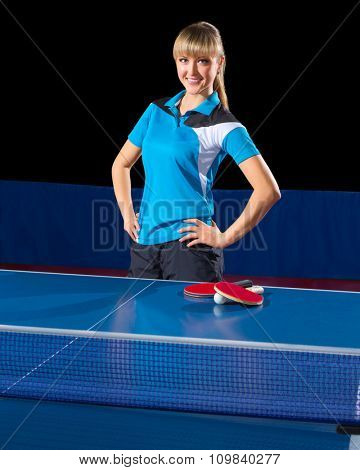 Young girl table tennis player (isolated ver)