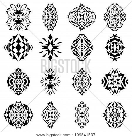 Vector Set Of Tribal Black And White Decorative Geometric Patterns For Design And Fashion. Aztec Orn