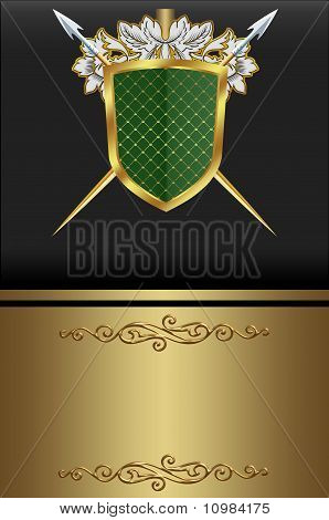 Decorative golden card for text.