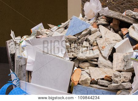 Heap Of Debris, Construction Waste From Renovation House