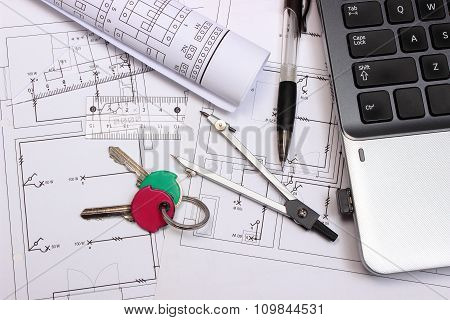 Electrical Diagrams, Accessories For Drawing, Home Keys And Laptop