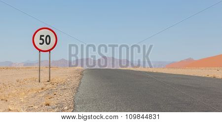 Speed Limit Sign At A Desert Road In Namibia