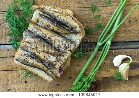 Sandwich With Sardines Rustic Breakfast