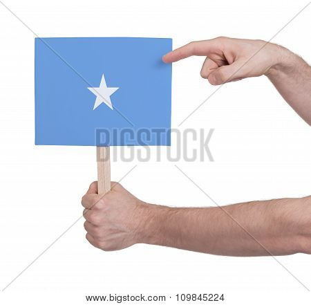 Hand Holding Small Card - Flag Of Somalia
