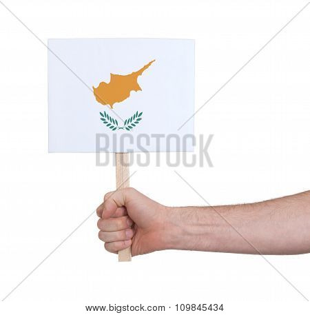 Hand Holding Small Card - Flag Of Cyprus