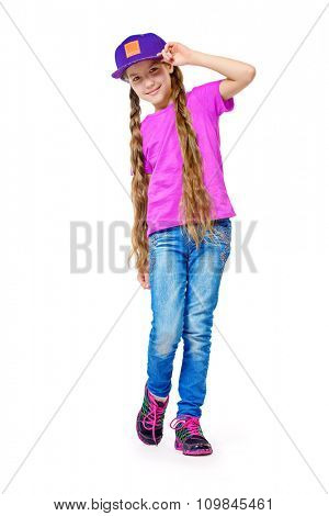Full length portrait of joyful teen girl wearing casual clothes. Active lifestyle. Studio shot. Isolated over white.
