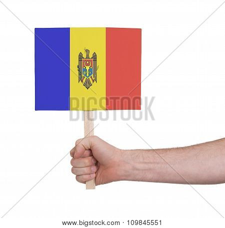 Hand Holding Small Card - Flag Of Moldova