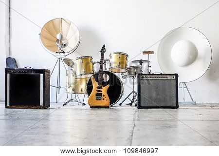 Drum Kit With Two Bass Drums And Guitar