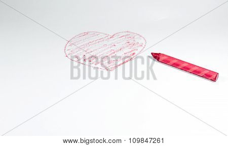 Hand Drawn By Red Crayon, Heart Shape Isolated On White Background With Red Crayon