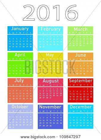 Vector illustration of a modern and simple calendar 2016