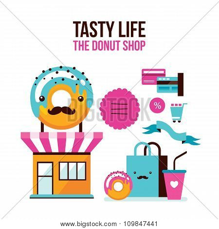 Donut Coffee Online Shopping Infographic Flat 3D Isometric Design Style
