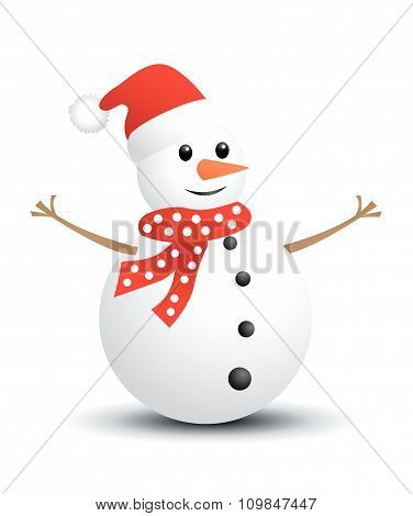 Christmas Snowman vector illustration on white background