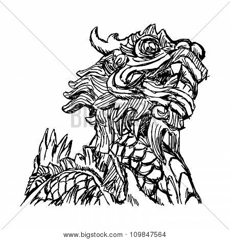 Illustration Vector Doodle Hand Drawn Of Sketch Dragon Isolated On White.