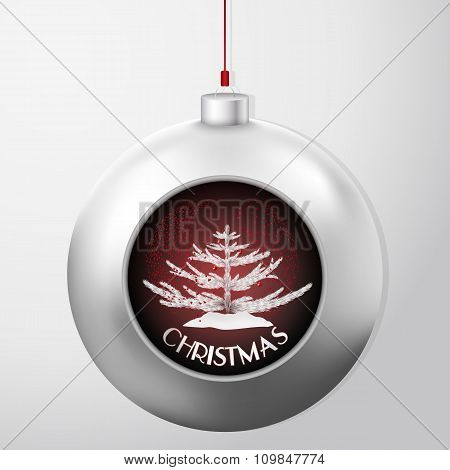 Christmas Ball With A Fir And Red Confetti Storm Inside