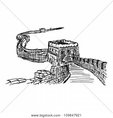 Illustration Vector Doodle Hand Drawn Of Sketch The Great Wall Isolated.
