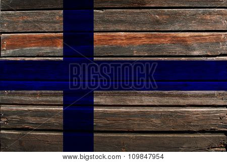 Flag of Finland on wood