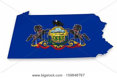 Geographic border map and flag of Pennsylvania, the Keystone State