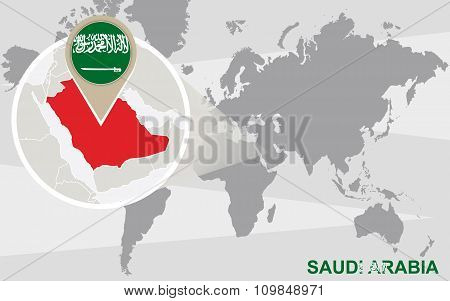 World Map With Magnified Saudi Arabia
