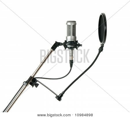 Studio Microphone With Pop Filter Isolated On White