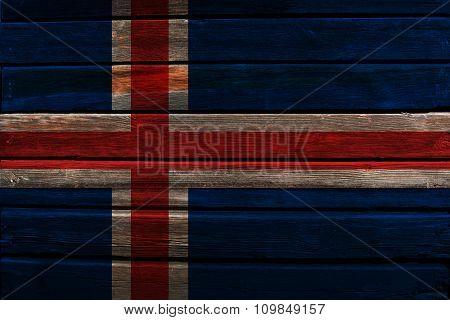 Flag of Iceland on wood
