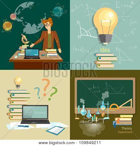 Education Concept Teacher Classroom Algebra Physics Chemistry Astronomy Set