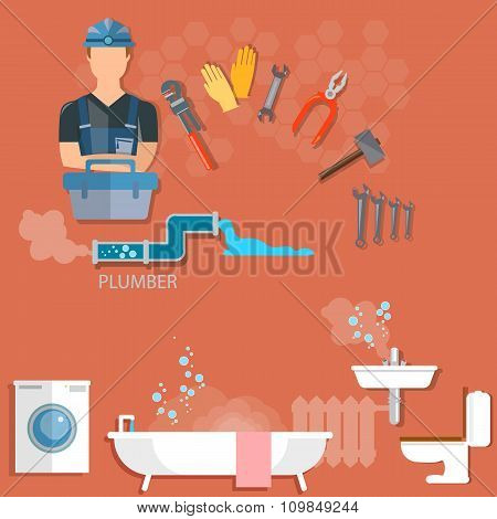 Plumber Repairing Pipeline And Cleaning Clogged Sink With Plunger Plumbing And Renovation