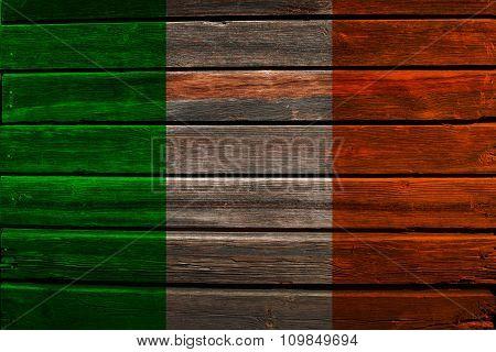 Flag of Ireland on wood