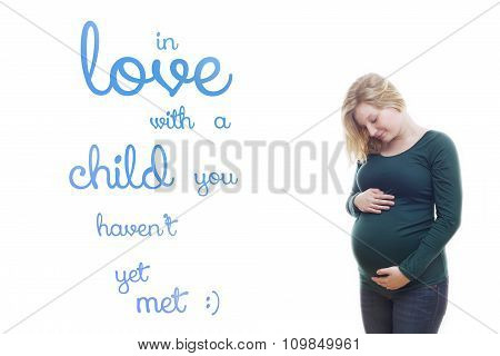 Pregnant blonde young woman quote