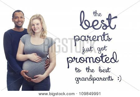 Pregnant young interracial couple quote