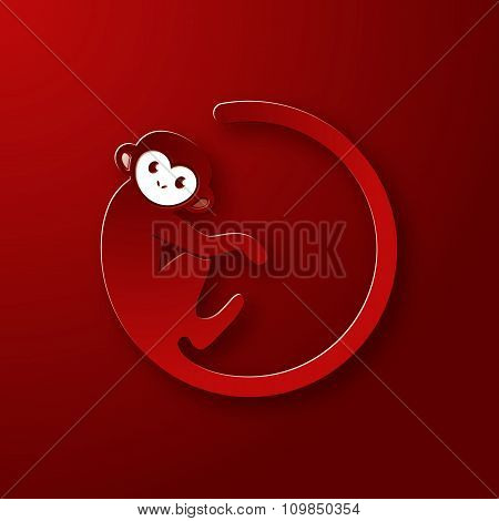 Monkey Logo In A Shape Of A Circle On Red Background, New Year 2016, Vector Illustration Logo Design