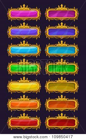 Cartoon colorful buttons with golden rim