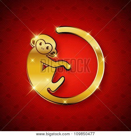 New Year Symbol 2016 Gold Monkey Design, Postcard, Greeting Card, Banner, Vector Illustration