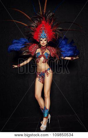Woman in carnival dress