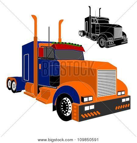 Vector American big truck illustration