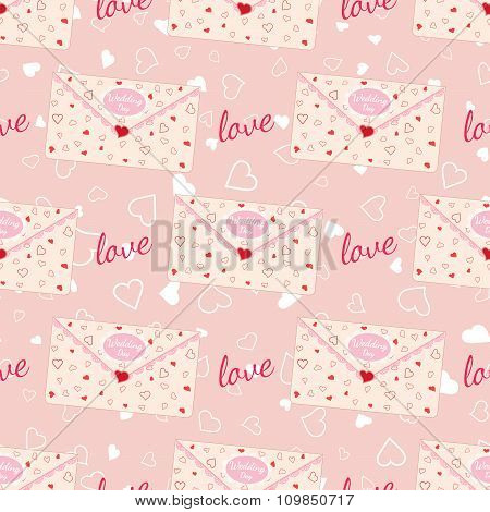 Wedding seamless pattern with letter decorated with lace and texture of hearts