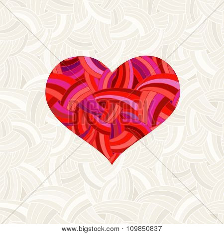 Valentine's Day Background With Red Heart. Heart Under The Mask - Editable For Your Design.