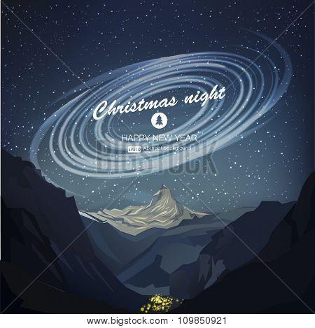 Star night vector illustration. Christmas night