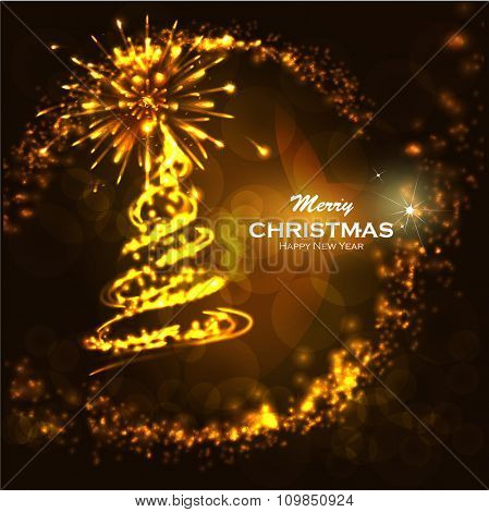 Golden background christmas. Abstract Christmas background with Firework Salute and place for text. Glittering bokeh with magic stars dust. Blurred Christmas Lights for Xmas Holiday Design.