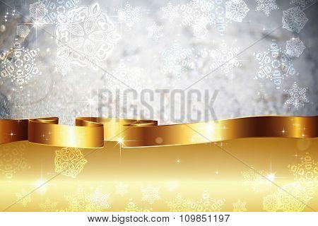 Grey Bokeh With Gold Ribbon