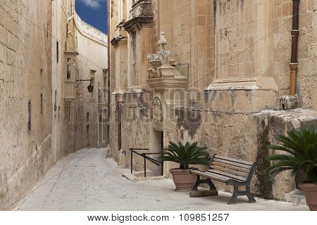 Typical Narrow Street In The Medieval Town Mdina, Malta