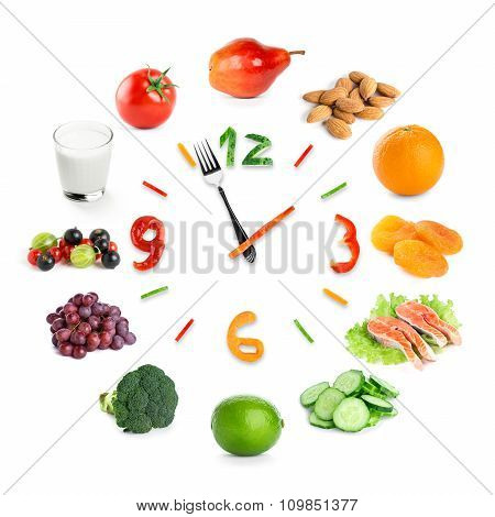 Food Clock With Healthy Food