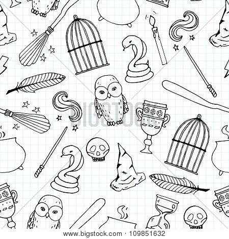 Different Witch Equipment Seamless Pattern
