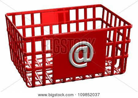 Red Shopping Basket With Sign @