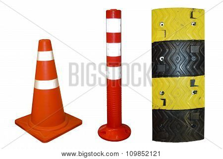 Traffic cone and Traffic Pole and Plastic speed bumps