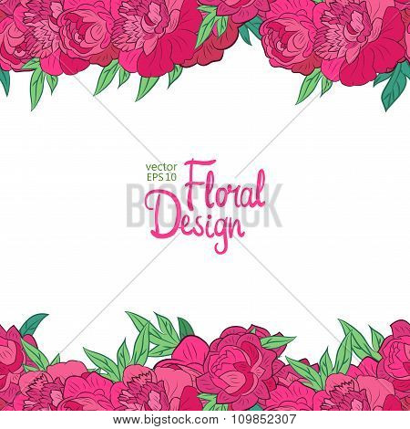 Vector border with peonies