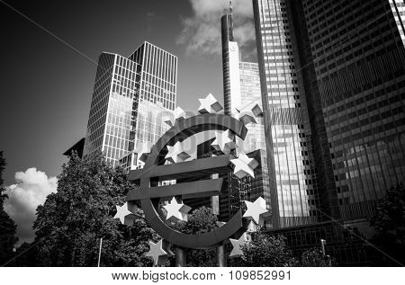 Frankfurt, Germany-August 16 : Euro Sign. European Central Bank (ECB) is the central bank for the euro and administers the monetary policy of the Eurozone. August 16, 2015 in Frankfurt, Germany.