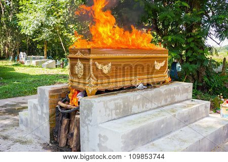 Fire On The Coffin For Cremation, Thai Culture