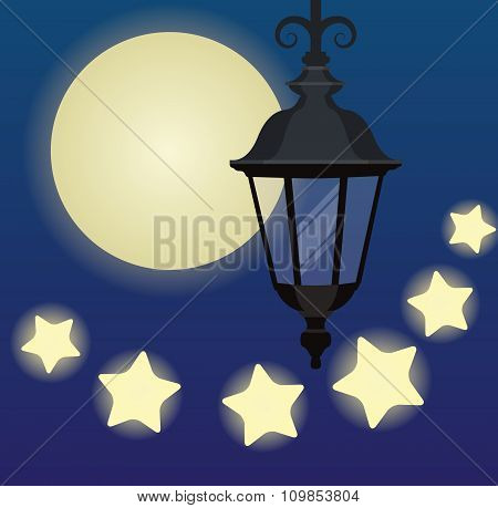 Hanging Lantern On The Background With Moon And Stars