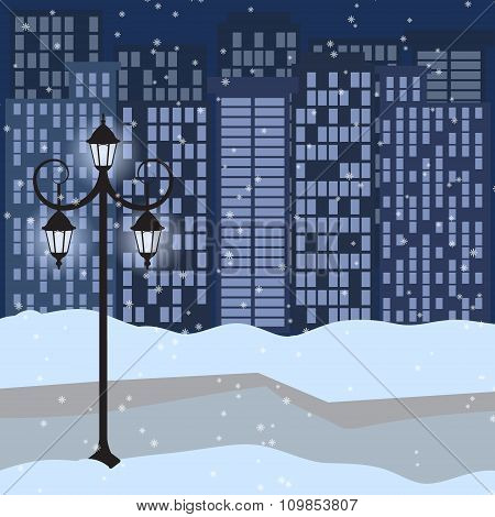Winter Cityscape With Lantern